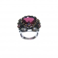 Silver Lal Stone Ring