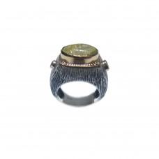 Silver Gold Rutile Quartz Ring