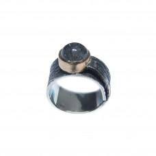 Silver Black Rutile Quartz Ring