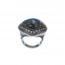 Silver Black Rutile Quartz-CZ Ring