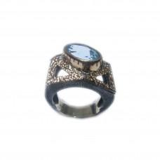 Silver Swiss Blue Topaz Ring