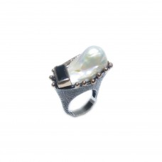 Silver Baroque Pearl Ring