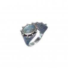 Silver Green Labradorite Ring