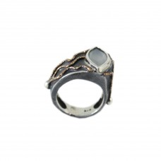 Silver Moon Stone Ring