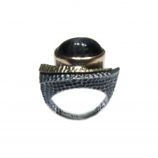 Silver Black Star Diopside Ring